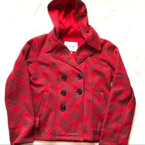 Maurice's red and gray plaid coat. Size XL.